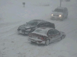 Snowy highway conditions
