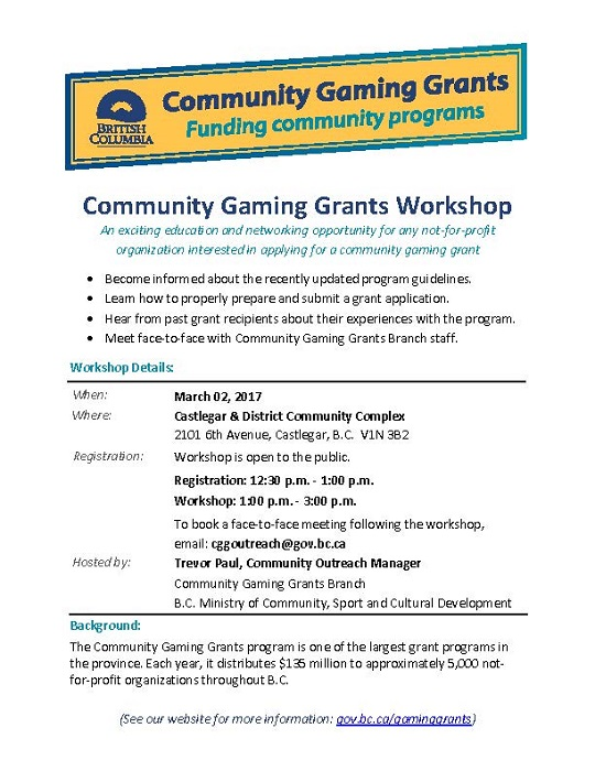 Kootenay Region Community Gaming Grant Workshop